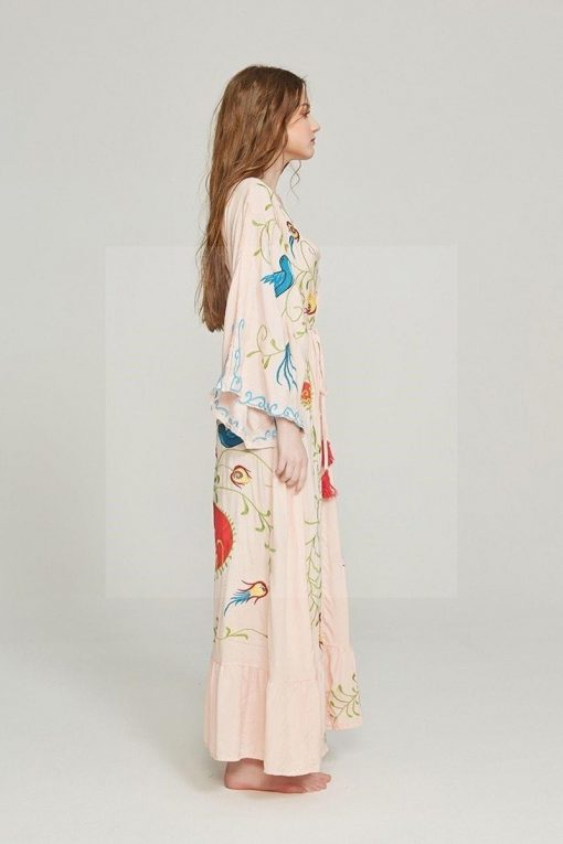 Langes Kleid im Hippie Chic in Beige